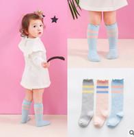 Wholesale Toddler Knee High Stocking - Newborn socks summer baby girls boys stripe socks toddler 3 4 knee high ruffle lace stocking babies cotton breathable stocking T0219