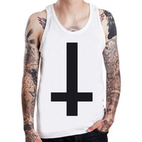 Commercio all'ingrosso - intrecciata trasversale del gatto punk Rock Symbol Mens serbatoio Top Boy Sleeveless Tee Shirt formato USA S-XXXL
