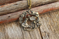 Wholesale Antique Cat Plate - Alice in Wonderland pendant necklace flower necklace cat necklace antique jewelry girl charm gift idea C353N