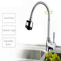 Wholesale Contemporary Style Bathrooms - Wholesale- Fashion Modern Style Pull-out Mixer High Bathroom Faucet Contemporary Chrome Solid Brass Spring Kitchen Mixer Faucet