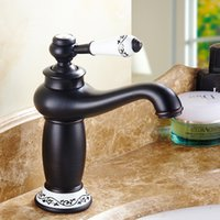 Wholesale porcelain paint sink - Black Painted Faucets Bathroom Sink Basin Brass Faucet Ceramic Mixer Tap Vintage Porcelain Faucet Single Handle Single Hole Deck Mounted
