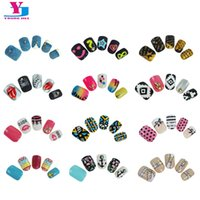 Wholesale 3d Pre Design Nails - Wholesale- New 24pcs Pack Pre Glue False Nails French Nep nagels Artificial Fake Nails Nail Art Design Nail Tips Faux Ongles 3D Tip Sticker