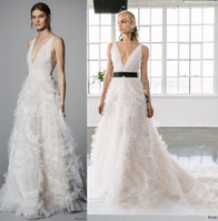 Wholesale Marchesa Bridal Dress - full embellishment romantic a line wedding dresses 2017 marchesa spring bridal sleeveless deep v neck open v back chapel train