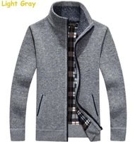 Wholesale Cashmere Zip Cardigan - Turtleneck Full Zip Cardigan Mens Jumpers Brand Christmas Men's Clothing Winter Thick Coat Cashmere Sweater Men Brand Knitted
