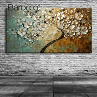 Wholesale Textured Tree Paintings - Textured hand painted flower Trees abstract oil painting modern home decoration