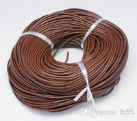 Wholesale brown leather necklace cord for sale - Group buy mm Hot Best Coffee Brown Free shiping Genuine Round COW Real Leather Jewelry Cord String For Bracelet Necklace