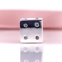 Wholesale Dice Bracelets - S925 Sterling Silver Dice Silver Charm With Cubic Zirconia Charms Beads Fit Pandora Snake Chain Bracelet DIY Fashion Jewelry 791269CZ