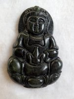 Wholesale Hotan Jade - China's xinjiang hotan dark green jade Buddha pendant