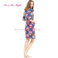 Wholesale Sister Bridal Dress - Wholesale- 4 Colors Cotton Robes Floral Women Sleepwear Sisters Clothes Bridal Dressing Bridesmaid Robes Sexy Wedding Party Bathrobes