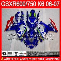 Wholesale 8Gifts Colors Body For SUZUKI GSX R750 GSXR600 GSXR750 HM8 GSX R600 R750 K6 GSX R600 GSXR Fairing Blue white