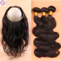 Wholesale Pre Plucked Lace Frontal With Bundles Brazilian Body Wave Virgin Human Hair Lace Frontal Closure Bleached Knot Baby Hair