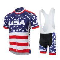 equipo usa ropa al por mayor-2017 EE. UU. Jerseys de Ciclismo Equipo Pro Ropa de Ciclismo de Manga Corta Set de Verano de secado rápido MTB Ropa de bicicleta de carretera Ropa Ciclismo E2201