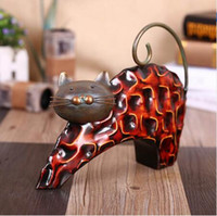 Miniature En Fer Pas Cher-Tooarts Figurine Lazy Cat Metal Figurine Art Sculpture Animal Sculpture abstraite Figurine miniature Craft Gift For Home Decoration