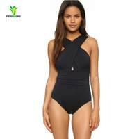 Wholesale One Piece Halter Swimsuits - 2017 Sexy Cross Halter women swimwear one piece swimsuit Black red Solid women conjoined bathing suits