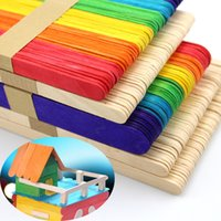 Wholesale Wooden Ice Cream Toy - 50pcs Wooden Popsicle Stick Kids Hand Crafts Art Ice Cream Lolly Cake DIY Making Funny Gift Baby Shower Birthday Decor Supplies