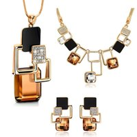 Fine Jewelry sets Fashion Rhinestone Crystal Acrylic Geometric Chokers Colliers Boucles d'oreilles Long Pendants Jewellery Set For Women