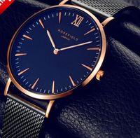 Wholesale Simple Fashion Stylish - Fashion Simple Stylish Luxury brand Hot Watches Men Stainless Steel Mesh Strap Thin Dial Clock Man Casual Quartz-watch Black