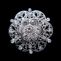 Wholesale American Red Cross Pin - Free Shipping ! Zinc Alloy Silver Plated Clear Crystal Rhinestone Small Size Flower Brooch Pins For Wedding Bouquet