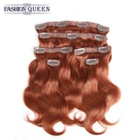 Wholesale Extensions Clip Auburn 33 - Brazilian Body Wave Clip In Human Hair Extensions #33 Dark Auburn 6Pieces 115g Pack African American Clip In Human Hair Extensions