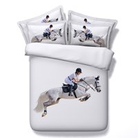 Wholesale king size white bedspread - 3 Styles 3D White Horse Racing Animal Bedding Sets Twin Full Queen King Size Bedspreads Dovet Covers for Children Boy Adult Bedroom 3 4 pcs