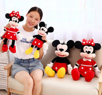 Wholesale Minnie Toy Lover - Wholesale- 30cm 2015 new High Quality cute Mickey plush toys Minnie doll one pair of lovers for children gfts 2pcs lot