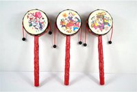 traditional baby rattles Australia - Wholesale Eco-friendly drum-shaped rattle Classic traditional Baby Toys rattle-drum Festive & Party Supplies