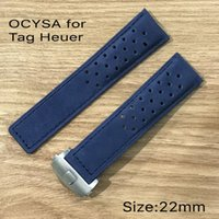 Wholesale bracelet butterfly leather - OCYSA High quality hollow out crazy horse genuine leather watch strap for heuer ,genuine soft ,with silver butterfly clasp