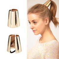 Wholesale Metal Hair Clip Ponytail - Wholesale- Hot Punk Rock Metal Circle Ring Hair Cuff Wrap Ponytail Holder Band Hair Rope Hair Clips