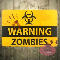 Wholesale Zombie Posters - T-Ray shabby chic Retro ZOMBIE WARNING SIGNS HALLOWEEN POSTERS OUTBREAK 170314#