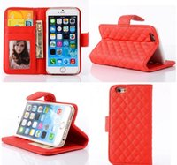 Wholesale Iphone Case Sheepskin - Kickstand Cases For iPhone 5 6 7G Plus Samsung S7 edge Note7 Sony Z3 Grid Leather Cases Wallet Case Photo Frame Sheepskin Flip Card Slots