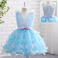 Wholesale Girl Spot Dress - New Spot flower children's clothes Sky Blue Communion Party Prom Princess Bridesmaid Wedding Flower Girl Dress