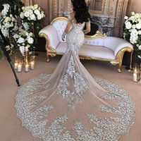 Wholesale Bling Bridal Dresses Sale - Hot Sale Luxury 2017 Wedding Dress Sexy Sheer Bling Beaded Lace Applique Illusion Long Sleeve Champagne Mermaid Chapel Bridal Gowns EF5221