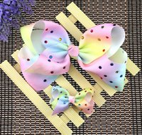 Wholesale Hair Clip Cloth - 2017 new bow clip Rainbow Headdress hot drilling cloth bowknot hairpin Christmas head flower in stock L161