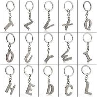 Wholesale Keyring Initials - 2017 Fashion New Crystal Rhinestones Alphabet Keyring Initial Letter Key Ring Chain Unisex Keychain 26 Letters