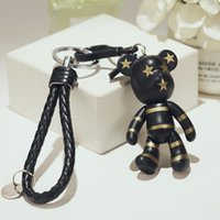 Wholesale Teddy Bears Keychain - Cartoon Popobe Gloomy Bear Teddy Bear Cute Keychain Car Key Holder Bag Charm Holder Resin Key Chain Key Ring Pendant