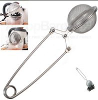Wholesale Mesh Squeeze Ball - Tea Infuser Ball Mesh Loose Leaf Herb Strainer Stainless Steel Mesh Ball Infuser Filter Teaspoon Squeeze Strainer KKA1545