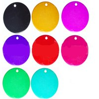 Cheap 10 Color L Size 1.5 '' Round Shape Pet Tag ID Pet Pendant peut être imprimé en alliage d'aluminium au laser Hotsale Fit Pet Collar 100PCS / LOT
