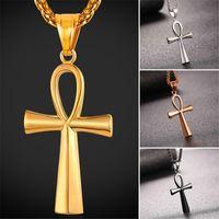 Wholesale Egyptian Amulets - U7 Fashion Ankh Egyptian Cross Pendant Necklace New Gold Platinum Black Gun Plated Key of the Nile Cross Amulet Jewelry Gifts GP2406