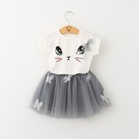 Wholesale Tee Shirt Dress Baby - Baby Girls T-shirt Short Skirt Sets Summer Kids Clothing Cute Bow Tutu Tulle Dress Cartoon Cat Short Sleeve Tees 2pcs Suit Free DHL 60