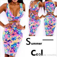 Wholesale cute women skirts - Fashion women sexy print dress sleeveless elastic Bodycon cute mini skirt