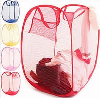 mesh-taschen zum waschen von kleidung großhandel-New Mesh Fabric Faltbare Pop Up Schmutzige Kleidung Waschen Wäschekorb Korbbeutel Korbbehälter Aufbewahrungstasche für den Haushalt
