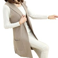 Wholesale Women S Long Hooded Cardigans - Cashmere wool blend Hooded Sweater Vest And Long Sections Knitted Cardigan Sleeveless Casual Dress Women Authentic Free Shipping