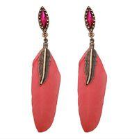 Wholesale Long Red Feather Earrings - Hot earring for women Earrings Fashion NEW Jewelry red Feather Rhinestone metal 2017 love copper alloy 18k long Stud Dangle & Chandelier