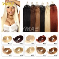 micro boucle remy indienne 1g achat en gros de-Noir Brun Blonde Nano Anneau Cheveux 100 s / lot 1g / s Indien Remy Humain Extensions de Cheveux 100pcs Nano Anneaux Micro Loop Anneau Cheveux Extensions