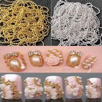 Wholesale Gold Nail Strips - Wholesale- Long 3M Metal Glitter Strip Tape Ball Beads Chain Decorations Silver Gold 3D Nail Art Design Tip