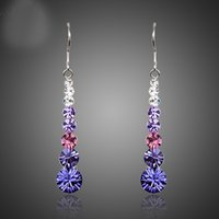 Wholesale stellux austrian crystals - Multicolour Round Stellux Austrian Crystal Wedding Drop Earrings For Women TE0260