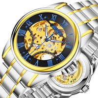 Wholesale New Watch Men Model - Automatic men 's mechanical watch hollow waterproof leisure roman gold gold explosion models watches 1pcs shipping