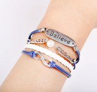 Wholesale Handwoven Rope - Wholesale-PSL254 Believe Infinity Angel Wings Rope Leather Bracelet Wristbands Multilayer Handwoven DIY Length Adjustable Gift