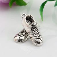 Wholesale zinc shoes for sale - Group buy Hot Sales Antique Silver Zinc Alloy Trainer Running Sport Shoe Charms Pendants x27 mm DIY Jewelry A