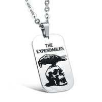 Wholesale Mens Stainless Steel Skull Pendants - Mens Stainless Steel Hip Hop Link Chain The Expendables Owl Skull Pendant Necklace Fashion Men Jewelry Hiphop Necklaces & Pendants Dog Tag